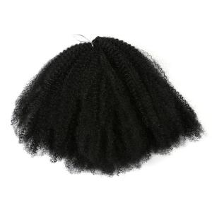 Long Fluffy Afro Kinky Curly Synthetic Hair Weave - BLACK