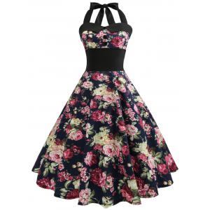 Vintage Halter Floral 50s Swing Dress