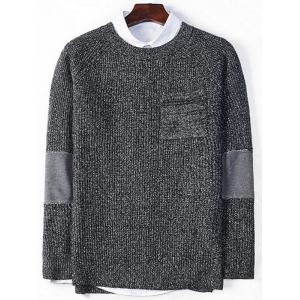 Elbow Panel Raglan Sleeve Pocket Sweater