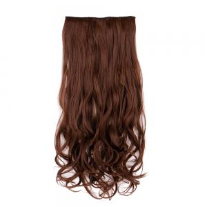 Heat Resistant Synthetic Long Wavy Clip In Hair Extension - BROWN 60CM