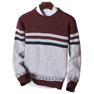 Color Block Crew Neck Stripe Jumper - Wine Red - L
