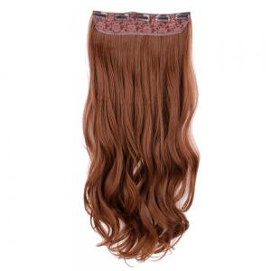 Long Wavy Clip In Hair Extension - Light Brown