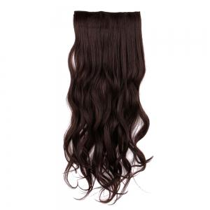 Long Clip In Slightly Curly Hair Extension - BROWN