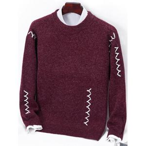 Crew Neck Sennit Design Pullover Sweater