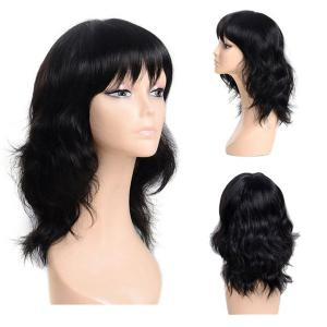 Medium Inclined Bang Slightly Curly Synthetic Wig - Black - 30inch