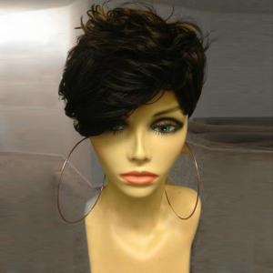 Short Oblique Bang Shaggy Layered Curly Synthetic Wig