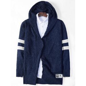 Stripe Cross Pattern Hooded Open Cardigan