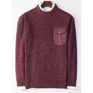 Elbow Patch Crew Neck Pocket Sweater