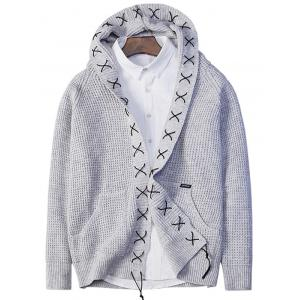 Sennit Design Hooded Open Front Cardigan - Gray - L