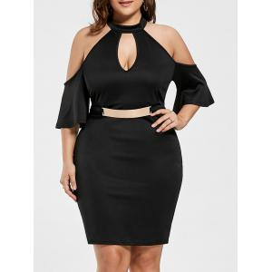 Plus Size Keyhole Cold Shoulder Dress