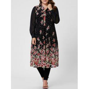 Plus Size Allover Floral Shirt Dress - Black - 5xl