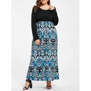 Printed Elastic Waist Plus Size Maxi Dress
