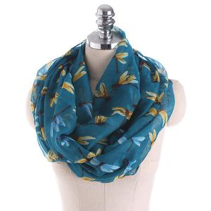Multicolor Dragonfly Printing Infinity Scarf - Blackish Green