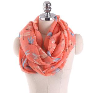 Multicolor Dragonfly Printing Infinity Scarf - Burnt Orange