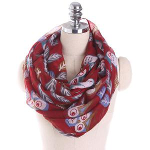 Cartoon Owl Printing Infinity Scarf