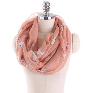Horse Printed Infinity Scarf - Light Pink