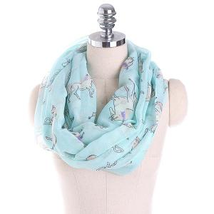 Horse Printed Infinity Scarf - Light Blue