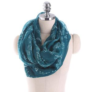 Note Stave Music Element Printed Infinity Scarf - Blackish Green - 150*180cm