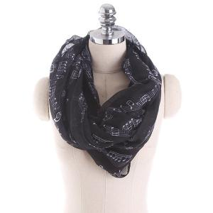 Note Stave Music Element Printed Infinity Scarf - Black
