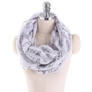 Note Stave Music Element Printed Infinity Scarf - Black White