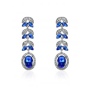 Faux Sapphire Rhinestone Leaf Oval Earrings - Blue