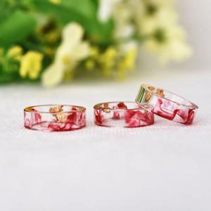 Dry Floral Transparent Resin Ring - RED 7