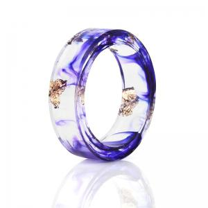 Vintage Dry Flower Resin Transparent Ring - Purple - 9