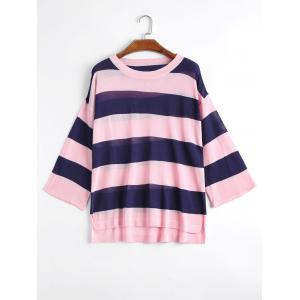 Plus Size Striped Side Slit Knit Sweater