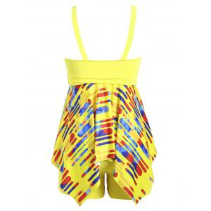 Plus Size Striped Handkerchief Tankini Set - YELLOW 2XL