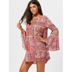 Paisley Print Long Flared Sleeve Tunic Dress