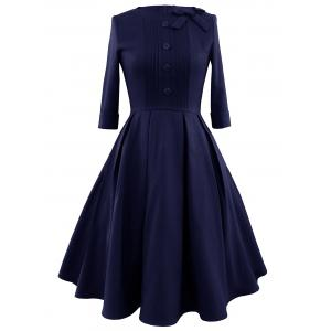 Vintage Bowknot Pleated A Line Dress