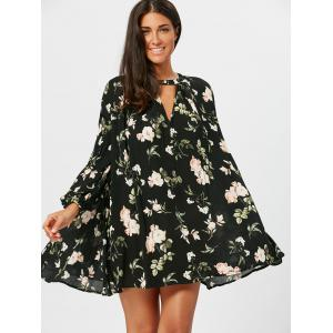 Floral Leaf Print Long Sleeve Tunic Dress