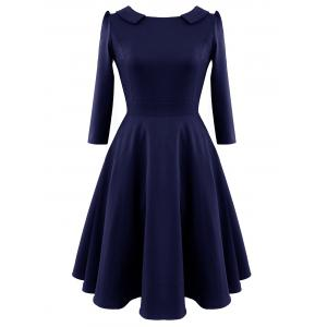 Fit and Flare Vintage Mini Dress - Deep Blue - S