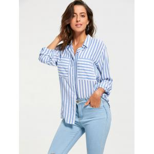 Long Sleeve Front Pocket Stripe Shirt - Blue And White - 2xl
