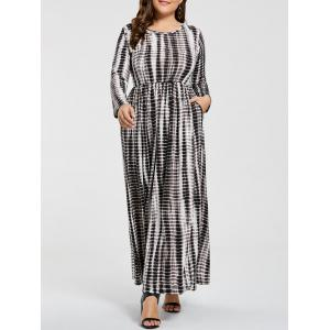 Plus Size  Elastic Waist Maxi Tie Dye Dress