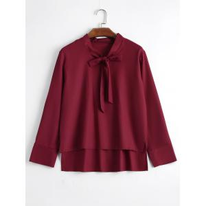 Plus Size High Low Bow Tie Blouse - Wine Red - 4xl