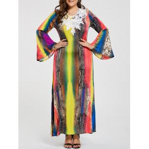Lace Embellished Gypsy Plus Size Maxi Dress - Multicolor - 4xl