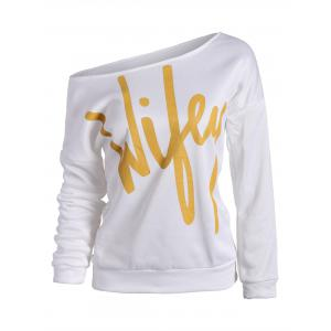 Wifey Print Skew Neck Sweatshirt - White - Xl