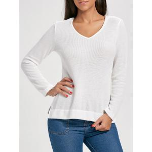 Knit Side Slit Hooded Top - White - Xl