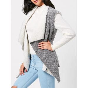 Faux Fur Embellished Open Front Waistcoat - Gray - S