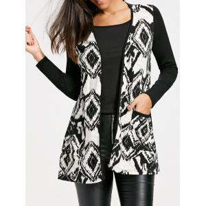 Open Front Tribal Print Longline Cardigan - White And Black - 2xl