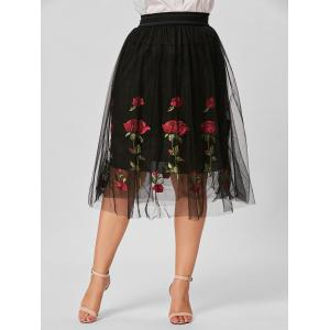 Floral Embroidered Mesh Plus Size Skirt