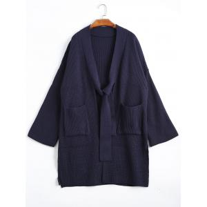 Slit Drop Shoulder Plus Size Cardigan