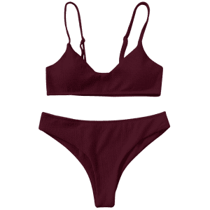 Padded Bralette Bikini Set - WINE RED 2XL