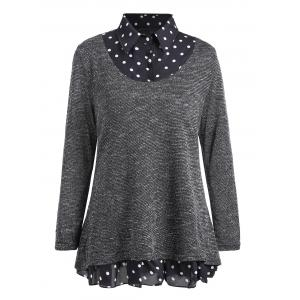 Plus Size Overlay Polka Dot Knit Top