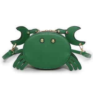 Crab Faux Leather Crossbody Bag - Green - L