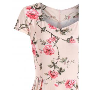 Floral Print Cap Sleeve Vintage Dress -