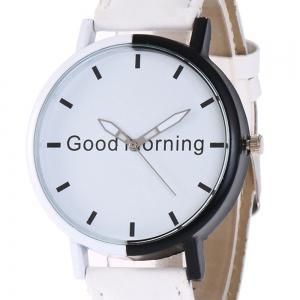 Good Morning Faux Leather Strap Watch -