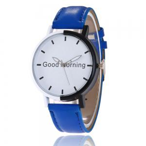 Good Morning Faux Leather Strap Watch