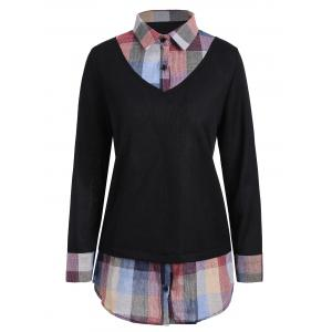 Checked Panel Plus Size Sweater